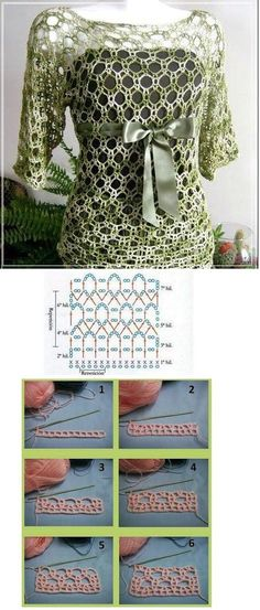 Summer Crochet Top - 4 rectangles and you have a top. 2 big ones for the body and 2 smaller ones for the sleeves! T-shirt Au Crochet, Pull Crochet, Gilet Crochet, Mode Crochet, Crochet Shirt, Crochet Diagram, Crochet Woman, Crochet Crafts, Crochet Tops