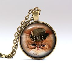 Cat charm. Steampunk jewelry. Animal chain. Handmade pendant necklace, comes in bronze or silver finish, on a chain or a leather cord. SIZE: 1