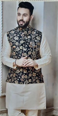 Kurta Pajama Set with WaistCoat / Vest / Koti /Nehru Jacket Sherwani For Men Wedding, Wedding Dresses Men Indian, Wedding Dress Men, Kurta Pajama Men, Kurta Men, Mens Sherwani, Nehru Jacket For Men, Nehru Jackets, Designer Suits For Men
