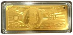 Bank Note Gold Plated (5 grams) 24K 99.9% $100 with Certificate COA Money Bill