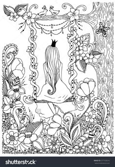 Princess zentangle riding on a swing. Garden, flowers, birds in a tree, doodle, zenart. Adult coloring books.