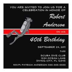 Scuba Diver Diving Sport Birthday Party Invitation