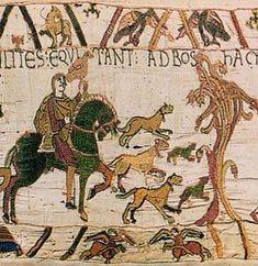 La « Tapisserie » de Bayeux - XIe siècle Toile de lin brodée de fils de laine, elle est en réalité une BRODERIE composée de 9 lés de longueurs différentes, reliés les uns aux autres par de fines coutures racontant en 58 scènes la conquête de l'Angleterre en 1066, par Guillaume le Conquérant, duc de Normandie La Tapisserie est un récit historique, mais également une source fondamentale pour la connaissance des modes de vie au Moyen Âge en général et au XIe siècle en particulier