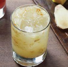 Fall Ginger Smash  2 thin slices fresh ginger   5 thin slices Bartlett pear   1 tsp. superfine sugar   1-1/2 fl.oz. Plymouth gin   1-1/2 fl. oz. Berentzen Apfelkorn apple liqueur   3/4 fl. oz.freshly squeezed lemon juice   1 dash St. Elizabeth allspice dram