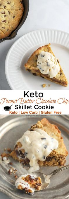 Keto Peanut Butter Chocolate Chip Skillet Cookie Beauty and the Foodie Chocolate Chip Cookies, Skillet Chocolate Chip Cookie, Skillet Cookie, Keto Chocolate Chips, Low Carb Chocolate, Chocolate Peanut Butter, Keto Foods, Keto Recipes, Dessert Recipes