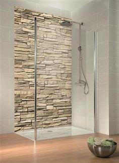 Verblender-Trend auch in der Dusche – Duschrückwand mit Digitaldruck, täuschend echt!
