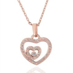 Rose Gold Plated Twin Heart Swarovski Elements Necklace