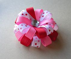 Items similar to Valentine Hair Bow - Red and Pink Dots - Small Flower Loop on Etsy Diy Hair Bows, Diy Bow, Fabric Ribbon, Ribbon Bows, Ribbons, Baby Girl Bows, Hair Decorations, Boutique Hair Bows, Diy Hair Accessories