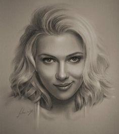 Scarlett johansson - Pencil Sketches by Krzysztof Lukasiewicz | Art and Design