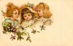 three girls, middle girl wears hat with roses, violets below - Art by FRANCES BRUNDAGE