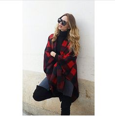 Check out Evelyn Kazatzoglou in full #check_prints! #BSB_scarves #BSB_accessories #accessories #BSB_FW14 #BSB_collection