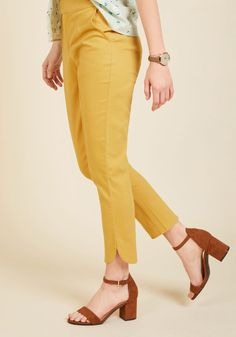 Delighted Foresight Pants in Curry. Yes, these cropped trousers from our ModCloth namesake label are a perfect pick for the office, but that's not all! #yellow #modcloth