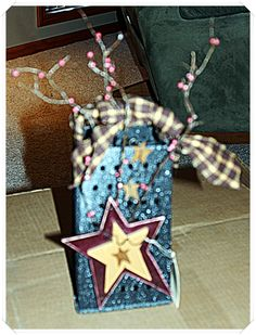 Made this primitive cheese grater, added some real pipberries, added some hand painted stars