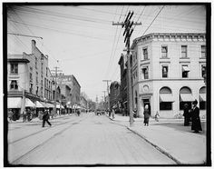 Church Street, Burlington, Vermont. From the early 1900's. Looks like the corner of Church and Main streets