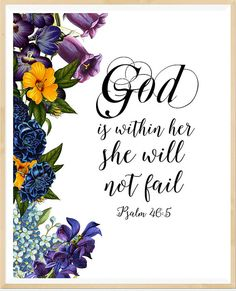 God is within her she will not fail bible by LeelaPrintableArt      bibleverse #bibleverseprint #christianart #christiandeco