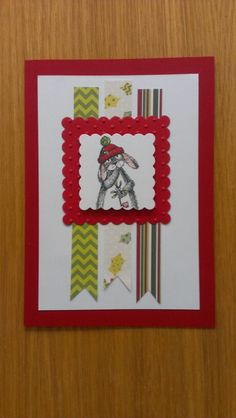 Christmas card using Craftworks card's Warren rabbit topper