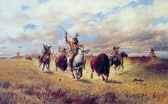 Indian Buffalo Hunt - By Charles Craig American, 1846-1931