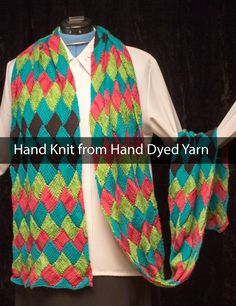 """Hand Knit Stole - Multi-Colored Stole Merino Wool, Cashmere, Bamboo and Silk! 104"""" by12"""" by VibrantFiberArt on Etsy"""