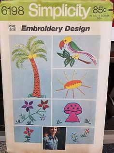 Vintage SimplicityTransfer Pattern 1973  7 Motifs for Embroidery