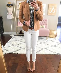 Stylish Petite - Gingham and Tan Blazer with White Jeans