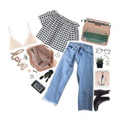 """Untitled #1566"" by dear-scone ❤ liked on Polyvore featuring Brandy Melville, Jeffrey Campbell, MANGO, Abigail Ahern, Alöe, Frency & Mercury, Tweezerman and boyfriendjeans"