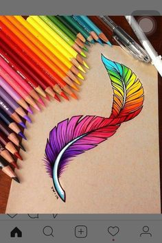 drawings pencil drawing amazing sketches easy colorful feather sketching tattoo creative feathers impressdrawing