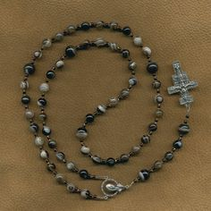 Botswana Agate Rosary with San Damiano Crucifix