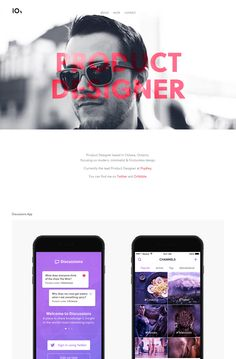 Super Long One Page redesign for Ottawa-based product designer, 'Ryan Johnson'.