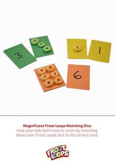 Magnificent Froot Loops Matching Dice – La mejor manera de ayudar a que tus hijos practiquen los números y reconozcan los colores.