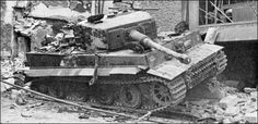 Tiger I of late production, belonging to s.SS.PzAbt.101, destroyed in Normandy, 1944.