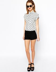 Image 4 of New Look Petite Polka Dot  Boxy Shirt