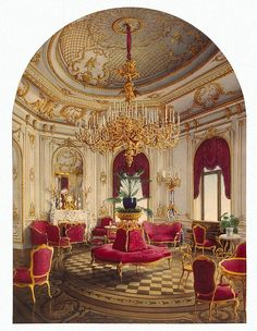 Palace of Count P. S. Stroganov. Corner Room - Jules Mayblum - Drawings, Prints and Painting from Hermitage Museum