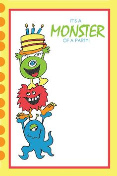 Monster Party Printables - FREE! by Everyday Art