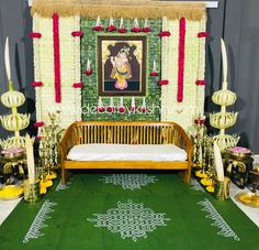 Traditional and colorful background decor adding simple natural element to decor make it the perfect picture by Wedding Stage Decorations, Wedding Mandap, Wedding Ceremony Backdrop, Backdrop Decorations, Festival Decorations, Flower Decorations, Backdrops, Cradle Ceremony, Housewarming Decorations