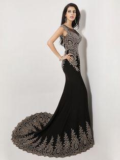 Mermaid Scoop Sweep/Brush Train Spandex Formal Evening Dress - USD $279.99