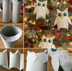 Paper Roll Snowy Owl Christmas Ornaments