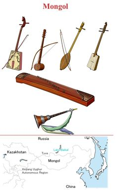 MONGOLIA (Up/Down, left / right ) 1.-Morin Khuur: chordophone / bowed string instrument 2.- Byzaanchy: chordophone / bowed string instrument (Tuva / Asia). 3.- Igil: chordophone / bowed string instrument. 4.- Doshpuluur: chordophone / lute family. 5.- Yatga: chordophone / zither family. 6.- Bishguur: aerophone / double reed instrument (Mongol / Asia)
