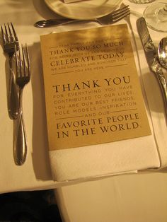 This couple decided to leave a nice note at the tables for their wedding guests. So cute!