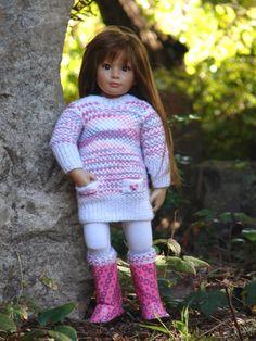 "OOAK Hand Knit Spring Sweater Dress set designed to fit 18"" Kidz n' Cats dolls by Debonair Designs SOLD"