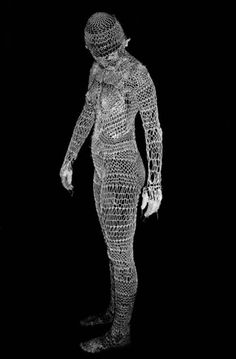"all-over body stocking // part of the ""Knitting Human"" series Artist: Elena Papaioannou // no instructions, just the photo. Do you want to try something like this?"
