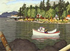 """""""Gabriola Island"""", just off Naniamo. In the background is the ferry coming in. Lovely photo again, especially with the fishing boat in the foreground, and the rocks and the water - this is how BC looks and feels."""