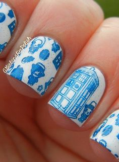 British themed nail art. Who else is reminded of Doctor Who?