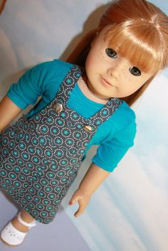 18 American Girl Doll Slate and Turquoise Star by SewLikeBetty, $16.00