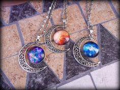 Check out Necklaces with moon and galaxies high quality on moonlightcreazioni