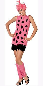 Pebbles Flintstone Adult: This prehistoric baby is all grown up. This costume features a pink and black shirt, shorts, bright pink wig and leg covers. A great Halloween costume! Pebbles Flintstone Halloween Costume, Flintstones Costume, Pebbles Costume, Halloween Kostüm, Halloween Fancy Dress, Couple Halloween Costumes, Cool Costumes, Halloween Parties, Trendy Halloween