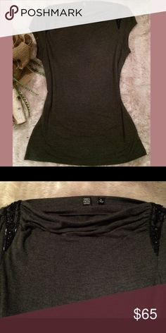 SAKS FIFTH AVE    charcoal sequin sleeve blouse  S SAKS FIFTH AVE    charcoal sequin sleeve blouse   S    excellent condition - only worn a few occasions    no trades    offers welcome ✨💋 Saks Fifth Avenue Tops Blouses