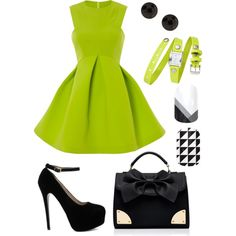 """""""Lime and Black"""" by samanthalink on Polyvore. Lime green dress, Jamberry nails, black and lime accessories."""