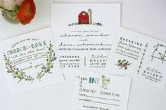 Floral Wreath Farm Wedding Invitations by http://www.printerettepress.com/