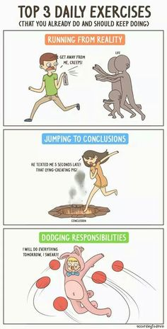 Funny pictures about Top 3 Daily Exercises. Oh, and cool pics about Top 3 Daily Exercises. Also, Top 3 Daily Exercises photos. Funny Quotes, Funny Memes, Jokes, Funny Videos, Jumping To Conclusions, Frases Humor, Bd Comics, Funny Comics, Humor Grafico