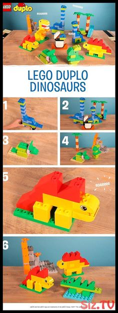 Does your child love dinosaurs? Then why not use their LEGO DUPLO bricks to buil. - Does your child love dinosaurs? Then why not use their LEGO DUPLO bricks to build these ROAR-some fr - Dinosaur Activities, Dinosaur Crafts, Toddler Activities, Build A Dinosaur, Lego Friends, Dino Lego, Batman Lego, Lego Poster, Pokemon Lego